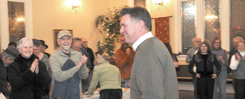 Dieter Dudy arrives at his election-night gathering.