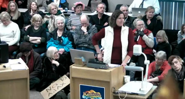 Cherise Udell of Utah Moms for Clean Air speaks to a packed council chambers today.