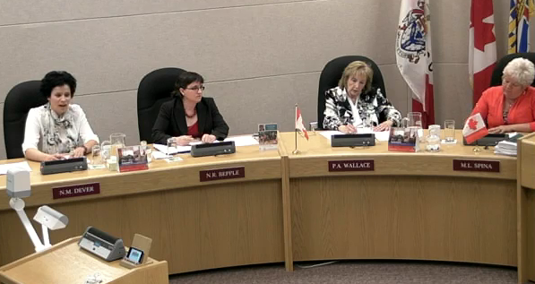 Coun. Nelly Dever (left) speaks in favour of getting a report on what other City councils are paid, as fellow councillors Nancy Bepple, Pat Wallace and Marg Spina listen.