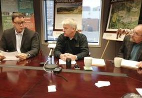 Ajax officials at press conference releasing letter. (Kamloops Daily News photo)