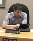 Coun. Donovan Cavers uses his new iPad at council meeting.