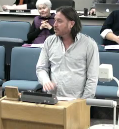 Jeff Connors at City council meeting talks about the impacts of smoking.