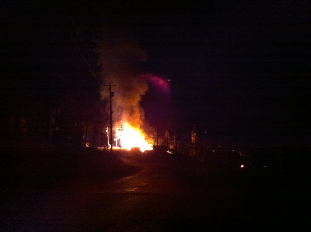 Pinanatan Lake store on fire just after midnight this morning. (Tracy Gilchrist)