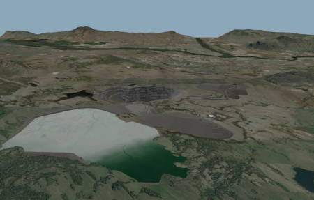 Computer-generated view of proposed tailings pond. Jacko Lake  and the pit are shown north of the pond, new waste rock stack is to right of the pond. Goose Lake would disappear in lower centre of pond. Part of Edith Lake  is on far right.