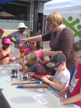Car Free Day - Fun at Big Little Science Centre booth.