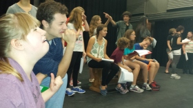 Students rehearse '30 Reasons.'