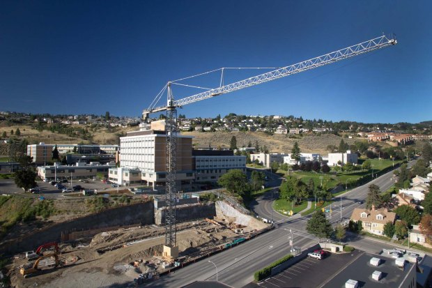 The crane at Royal Inland Hospital.  (Photo courtesy Don Johnson, Interior Health.)