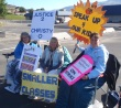 From left, Sandra Yest, Sandy Blacquiere, and Terry Hanson on picket line at David Thompson elementary on Tuesday.