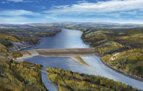 Artist's conception of Site C dam.