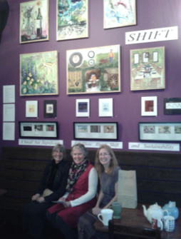 Artists June Laura Emery, Jennifer Ste. Marie and Jack Chadwick at art show.