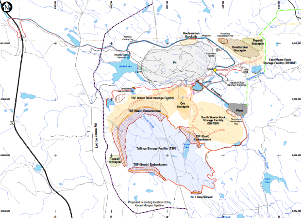 Map of minesite included in updated Environmental Assessment Office document.