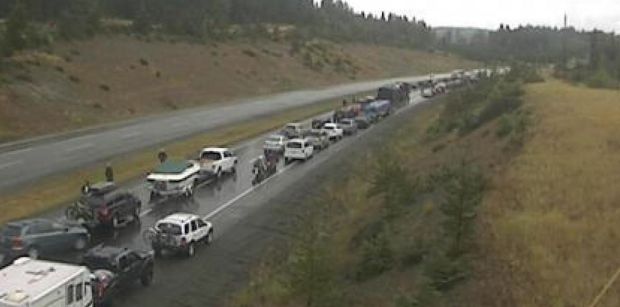 Traffic backed up after accidents. (Drive B.C.)