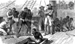 Print shows African captives being taken on board a ship.
