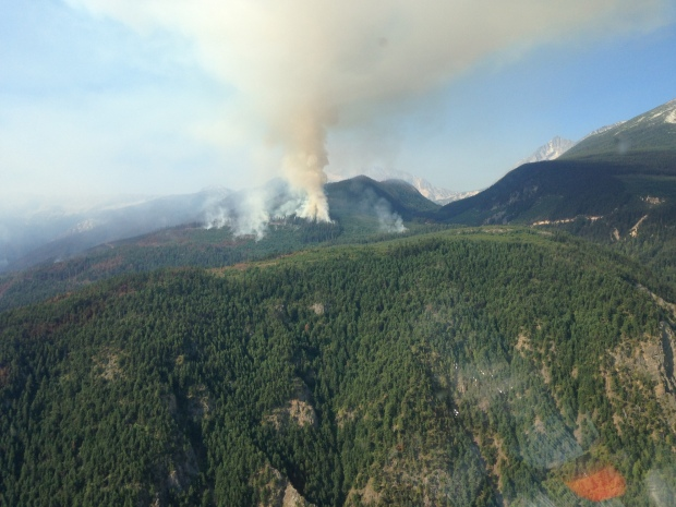 Area of Cisco Road fire which saw a flare-up Saturday. (B.C. Wildfire Management Branch)