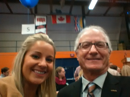 Brittany Kapsha and the Armchair Mayor at awards day.