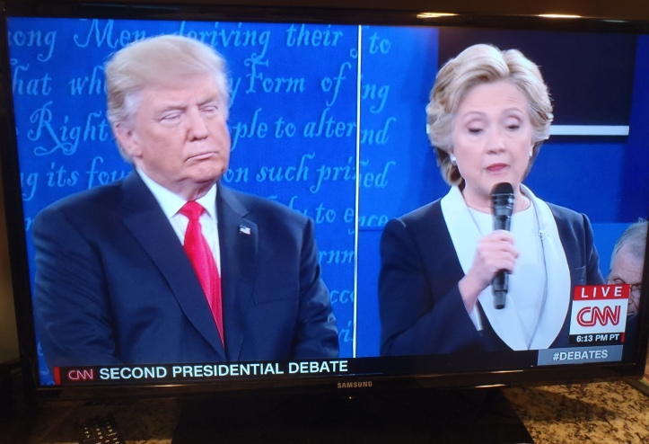 Donald Trump and Hillary Clinton in second presidential debate.