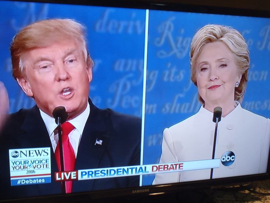 Trump and Clinton in the last debate.