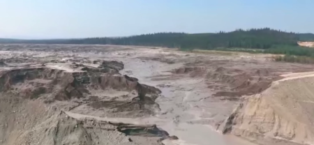 Screengrab of Mount Polley tailings pond breach