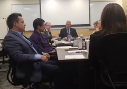 Committee of the whole meeting of Nanaimo City council. (Facebook video grab, Amanda Orum)