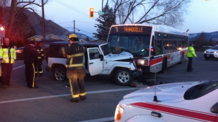 Three passengers were taken to RIH after accident today. (Photo courtesy CFJC)
