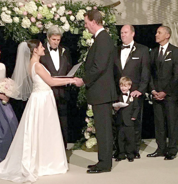 U.S. President Barack Obama was a groomsman, along with Walt Nicholson, at the wedding of Victoria's Marvin Nicholson and Helen Pajcic on the weekend. Secretary of State John Kerry officiated. Marvin Nicholson is an Obama aide who works as the White House trip director. (Photograph by Nicholson family)