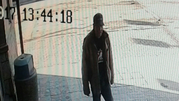 Surveillance photo of suspect in bank robbery.