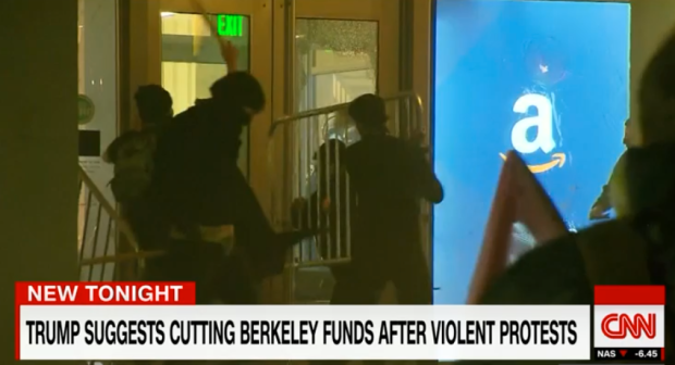 Berkley riot. (CNN screengrab)