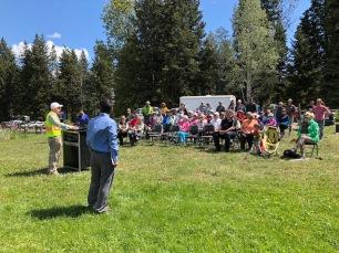 Project coordinator Al Michel (left) and Trails Alliance president Richard Doucette speak to crowd.